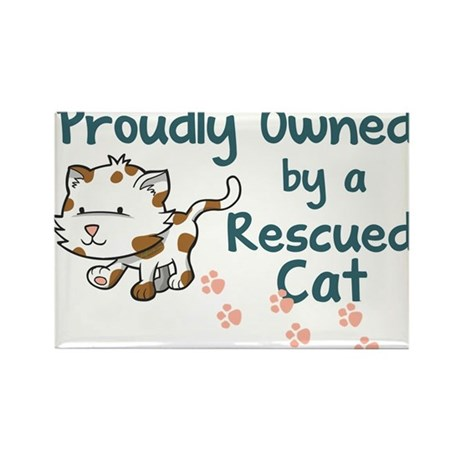 Proudly Owned (Cat) Rectangle Magnet (100 pack)