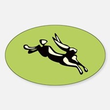 Jumping Jack Rabbit Oval Decal