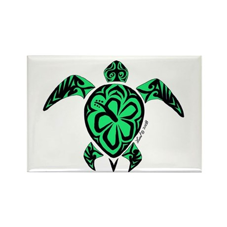 Tribal Turtle Rectangle Magnet