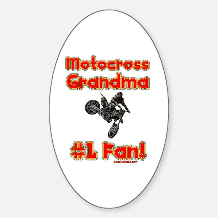 """Motocross Grandma"" Oval Decal"