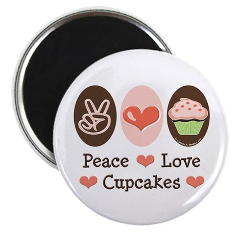 """Peace Love Cupcakes 2.25"""" Magnet (10 pack)"""