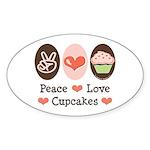 Peace Love Cupcakes Oval Sticker