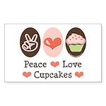 Peace Love Cupcakes Rectangle Sticker 10 pk)