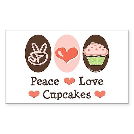 Peace Love Cupcakes Rectangle Sticker