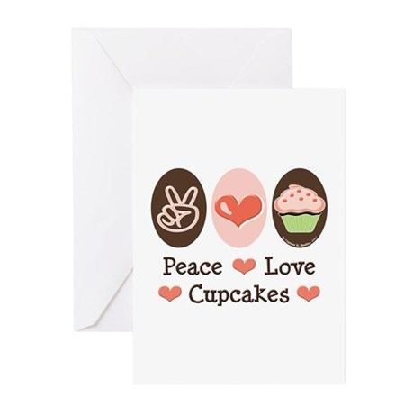 Peace Love Cupcakes Greeting Cards (Pk of 10)