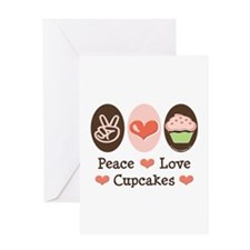 Peace Love Cupcakes Greeting Card