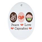 Peace Love Cupcakes Oval Ornament