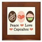 Peace Love Cupcakes Framed Tile