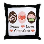 Peace Love Cupcakes Throw Pillow