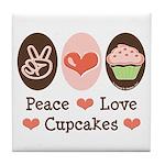 Peace Love Cupcakes Tile Coaster