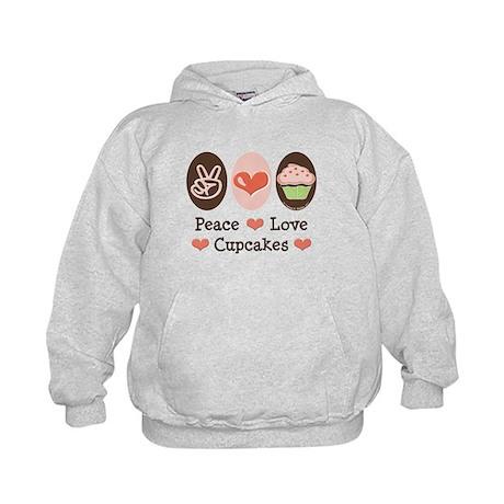 Peace Love Cupcakes Kids Hoodie