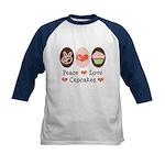 Peace Love Cupcakes Kids Baseball Jersey