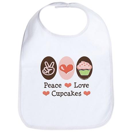 Peace Love Cupcakes Bib