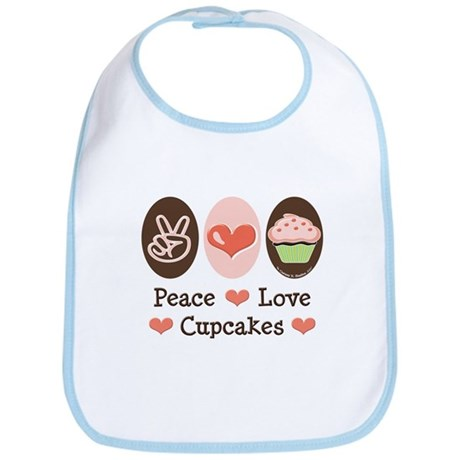 Peace Love Cupcakes Bib