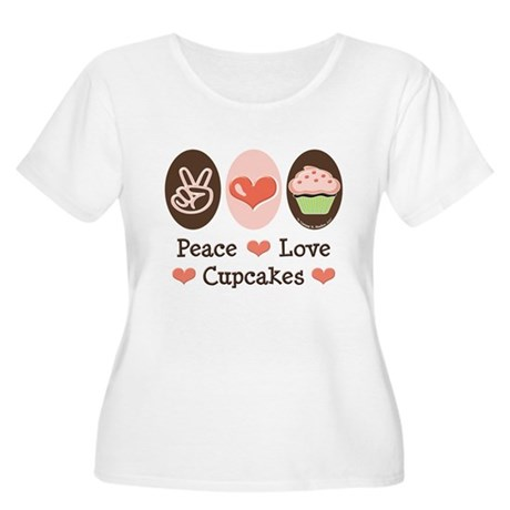 Peace Love Cupcakes Women's Plus Size Scoop Neck T