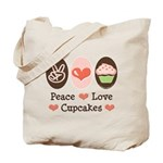 Peace Love Cupcakes Tote Bag