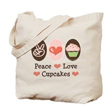 Peace Love Cupcakes Tote Bag