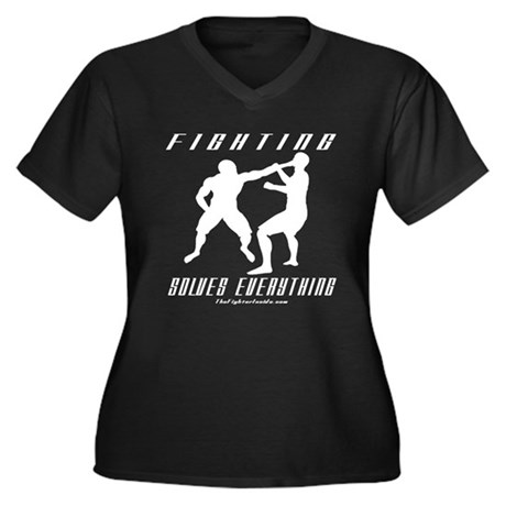 Fighting Solves Everything w/ Women's Plus Size V-