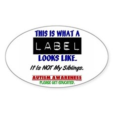 Label 1 Autism (Siblings) Oval Decal