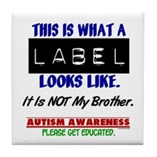 Label 1 Autism (Brother) Tile Coaster
