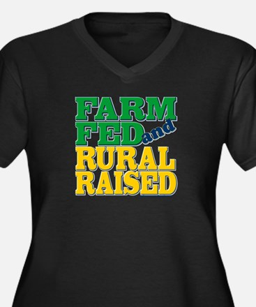 """Farm Fed and Rural Raised"" Women's Plus Size V-Ne"