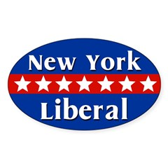 New York Liberal Oval Car Sticker