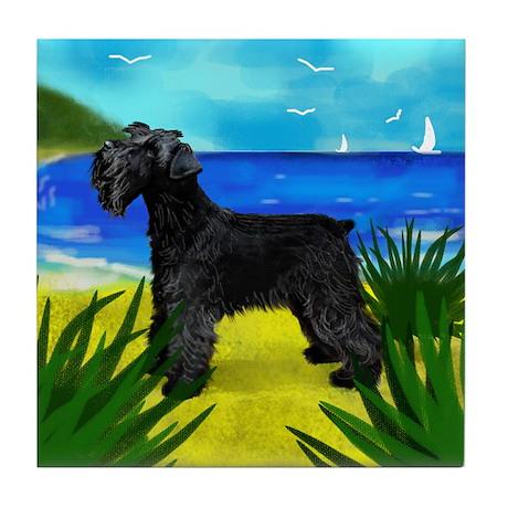 SCHNAUZER DOG BEACH Tile Coaster
