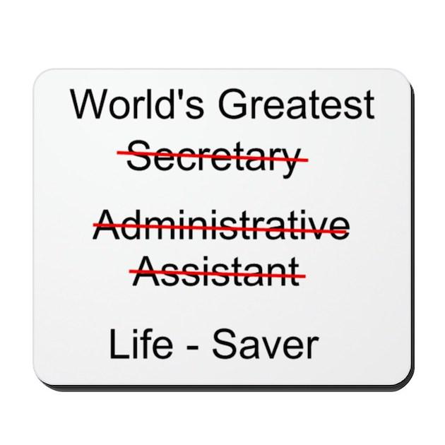 Secretary Quotes: World's Greatest Secretary Mousepad By Secretary