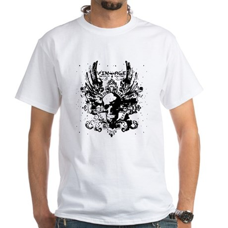 Vintage Flying Skull White T-Shirt