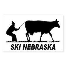 Ski Nebraska Rectangle Decal