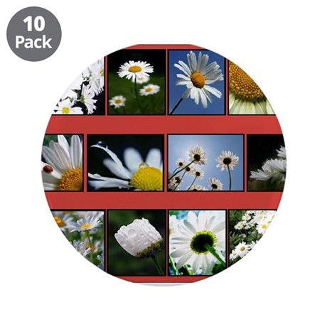 """Flowers 3.5"""" Button (10 pack)"""