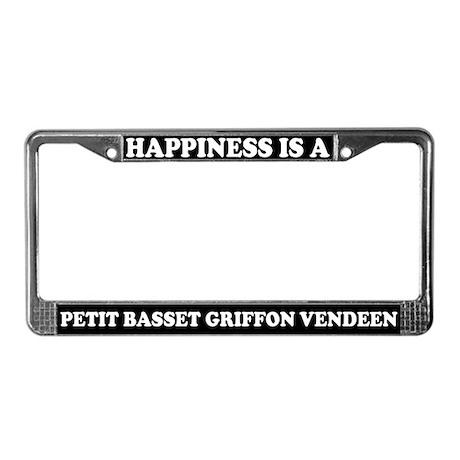 Happiness Petit Basset Griffon License Plate Frame
