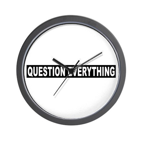 Question Everything - Black Wall Clock