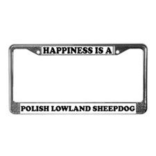 Happiness Polish Sheepdog License Plate Frame