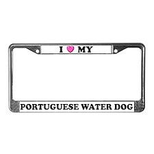 I Heart Portuguese Water Dog License Plate Frame