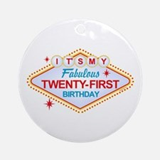 Las Vegas Birthday 21 Ornament (Round)