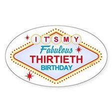 Las Vegas Birthday 30 Oval Bumper Stickers