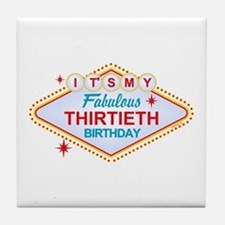 Las Vegas Birthday 30 Tile Coaster