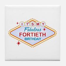 Las Vegas Birthday 40 Tile Coaster