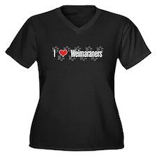 I heart Weimaraners Plus Size V-Neck Dark T-Shirt