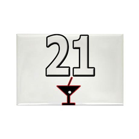 21st Birthday Martini Rectangle Magnet