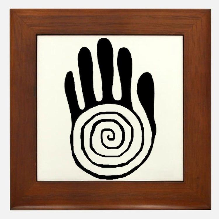 Sacred Hand in Black - Framed Tile