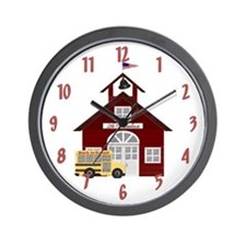 Little Red Schoolhouse Wall Clock
