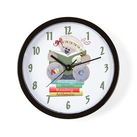 Reading Teddy Bear Wall Clock