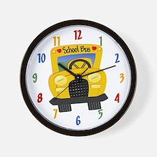 Yellow School Bus Wall Clock