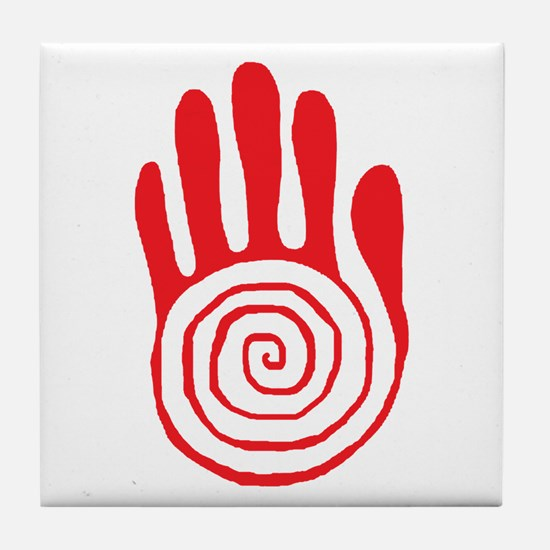 Sacred Hand in Red - Tile Coaster