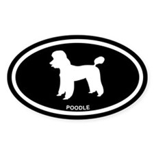 POODLE Black Euro Oval Decal