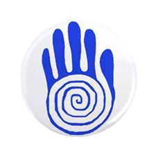 """Sacred Hand in Blue - 3.5"""" Button"""