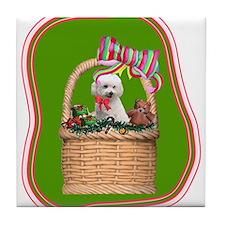 Christmas Bichon Tile Coaster