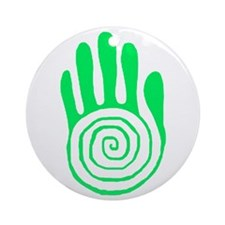 Sacred Hand in Green Ornament (Round)